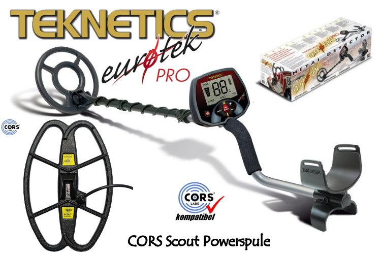 Teknetics Eurotek PRO (LTE) Metalldetektor Ausrüstungspaket mit CORS Scout Hochleistungsspule
